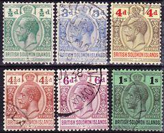 Solomon Islands 1922-1931 Lot Of King George V. Definitives Wmk Script Crown CA Mi 37, 41-43, 45-46 Used O - Salomonen (...-1978)