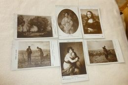 LOT DE 6 CARTES .OEUVRES MUSEE DU LOUVRE..MILLET(2)..COROT..GREUZE..VINCI..VIGEE LEBRUN - Cartes Postales