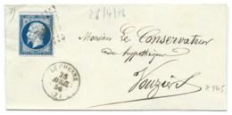 N° 14 BLEU NAPOLEON SUR LETTRE / LE CHESNE ARDENNES POUR VOUZIERS / 26 AVRIL 1856 / PC 845 IND 6 - Storia Postale