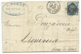 N° 60 BLEU CERES SUR LETTRE / LYON LES TERREAUX  POUR AIGUEPERSE / 1875 - Marcophilie (Lettres)