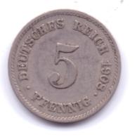 DEUTSCHES REICH 1908 J: 5 Pfennig, KM 11 - [ 2] 1871-1918 : Imperio Alemán