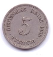 DEUTSCHES REICH 1908 G: 5 Pfennig, KM 11 - [ 2] 1871-1918 : Imperio Alemán