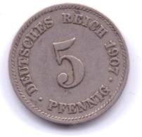 DEUTSCHES REICH 1907 J: 5 Pfennig, KM 11 - [ 2] 1871-1918 : Imperio Alemán