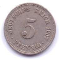 DEUTSCHES REICH 1907 A: 5 Pfennig, KM 11 - [ 2] 1871-1918 : Imperio Alemán