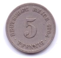 DEUTSCHES REICH 1904 F: 5 Pfennig, KM 11 - [ 2] 1871-1918 : Imperio Alemán