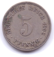 DEUTSCHES REICH 1902 A: 5 Pfennig, KM 11 - [ 2] 1871-1918 : Imperio Alemán