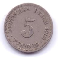 DEUTSCHES REICH 1901 D: 5 Pfennig, KM 11 - [ 2] 1871-1918 : Imperio Alemán