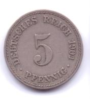 DEUTSCHES REICH 1901 A: 5 Pfennig, KM 11 - [ 2] 1871-1918 : Imperio Alemán