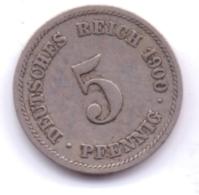 DEUTSCHES REICH 1900 F: 5 Pfennig, KM 11 - [ 2] 1871-1918 : Imperio Alemán
