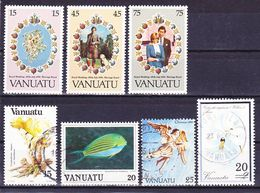 Vanuatu 1981-1991 Lot Of Stamps Mi 606-608 MNH**, Mi 670, 758, 851, 864 Used O - Vanuatu (1980-...)