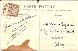 4I2  --  Ambulant Paris à Cherbourg   Taxe 10c Millésime 6 Banderolle  EVREUX (27) - Lettres Taxées