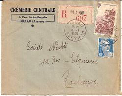 3I3  ---  12  MILLAU  Recommandé   1948   Crèmerie Centrale - Marcophilie (Lettres)