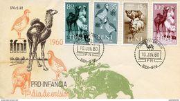 "Maroc ; Ifni ; FDC 1960 "" Pro-infancia ""colorisée;Morocco,Marruecos - Ifni"