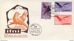 "Maroc,Ifni ; FDC 1er Jour; 1960 "" Primer Dia De Emision "" Aves,oiseaux;Morocco,Marruecos - Ifni"