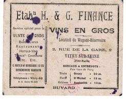 Buvard ETABLISSEMENTS H.&G. FINANCE- Vins En Gros , Vitry-sur-seine , Rue De La Gare - Alimentaire