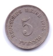 DEUTSCHES REICH 1915 J: 5 Pfennig, KM 11 - [ 2] 1871-1918 : Imperio Alemán