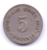 DEUTSCHES REICH 1913 D: 5 Pfennig, KM 11 - [ 2] 1871-1918 : Imperio Alemán