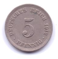 DEUTSCHES REICH 1912 D: 5 Pfennig, KM 11 - [ 2] 1871-1918 : Imperio Alemán