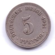 DEUTSCHES REICH 1911 A: 5 Pfennig, KM 11 - [ 2] 1871-1918 : Imperio Alemán