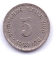 DEUTSCHES REICH 1910 E: 5 Pfennig, KM 11 - [ 2] 1871-1918 : Imperio Alemán
