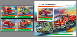 NIGER 2020 MNH Fire Engines Feuerwehr Fahrzeuge Camions De Pompiers 4v+S/S - OFFICIAL ISSUE - DHQ2026 - Firemen