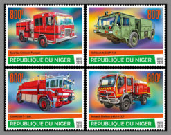 NIGER 2020 MNH Fire Engines Feuerwehr Fahrzeuge Camions De Pompiers 4v - IMPERFORATED - DHQ2026 - Firemen
