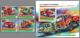 NIGER 2020 MNH Fire Engines Feuerwehr Fahrzeuge Camions De Pompiers 4v+S/S - IMPERFORATED - DHQ2026 - Firemen