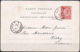 N° 58 Sur CV De Liège Vers Vichy (F) - Cachet Ambulant Français ERQUELINES A PARIS - Postmark Collection