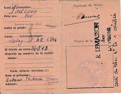 WW2 LA VERGNE (17) CARTE DE TABAC Pour Le Prisonnier Noé POITEVIN Stalag II E C 546 Délivrée à Son épouse - Historische Dokumente