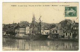 PORNIC  Le Quai Leray Goelette Madeleine Au Déchargement Vue Prise De La Gare 1910 - Pornic