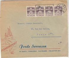 ESC Ship/fish 40 O. Esbjerg 1950 -> France - Danemark