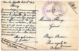 Cachet ARMEE BELGE SERVICE DES PETITS COLIS AGENCE D'AIX-LA-CHAPELLE Sur CV Vers Tournai (1919) - Military Post