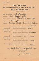 VICHY - 1942 - MARLY-de-ROI - Déclaration De Non Judéité Loi Du 2 Juin 1941 - Historische Dokumente