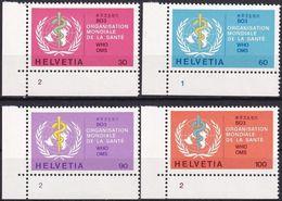SCHWEIZ 1975 Mi-Nr. WHO 36/39 Eckrand Mit Formnummer ** MNH - Dienstzegels