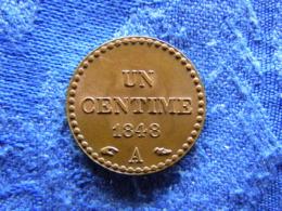 FRANCE 1 CENTIME 1848, KM754 AU Red Lustre - France