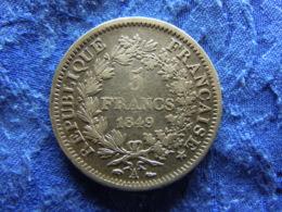 FRANCE 5 FRANCS 1849A, KM756.1 - France