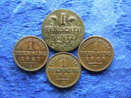 GERMANY  PREUSSEN 1 PFENNIG 1752A KM262.1, 1863A, 1867A, 1868B KM480 - [ 1] …-1871 : Etats Allemands
