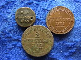 GERMANY  SACHSEN 1 PFENNIG 1765 Pierced KM980, 1865 KM1216, 2 PFENNIG 1862 Corroded KM1217 - [ 1] …-1871 : Etats Allemands
