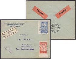 "167 + 168  SATZBRIEF  /  HERISAU - CHUR  /  SELTENE ETIKETTEN ""PRESSANT""  /  23.X.24 - Covers & Documents"
