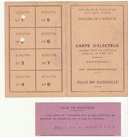 Bouches Du Rhône, Carte D'électeur, Ville De Marseille, 1947 - Historische Dokumente