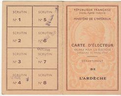 Ardèche, Carte D'électeur 1946 - Historische Dokumente