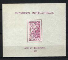 FRANCE COLONIES NIGER  Blocs & Feuillets: Exposition Internationale ''Arts Et Techniques 1937'' Neuf** TTB - 1937 Exposition Internationale De Paris