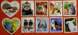 JAPON 2016 7929 7938 Animaux Oiseaux Lapin Hérisson Perroquet Chinchila Furet Peruche Hamster  Photo Non Contractuelle - 1989-... Emperor Akihito (Heisei Era)