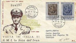 Fdc ReRu: VISITA DELLO SCIA DI PERSIA (1958);viaggiata  AF_Napoli - 6. 1946-.. Repubblica