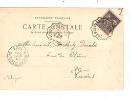 REF1442/ TP 89 S/CP Charleville Place Ducale C.convoyeur Charleville à Hirson 28/9/99 > Belgique Verviers C.d'arrivée - Poststempel (Briefe)