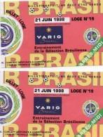 VARIG - Coupe Du Monde De Football 1998 - Tickets Pour  L'entrainement De La Sélection Brésilienne à Ozoir (77) - Fussball
