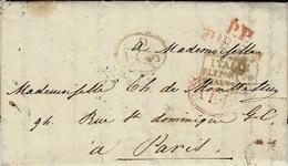 1832 - Lettre  P.P. / TORINO - A.E.D. Ovale Rouge + 9 /A.E.D. Vert + ITALIE/P.LE PONT DE / BEAUVOISIN - Postmark Collection (Covers)