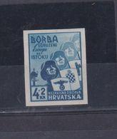 CROATIA, WW II  BORBA Imperforated Proof No Gum Falted - Kroatien
