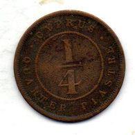 CYPRUS, 1/4 Piastre, Bronze, Year 1881, KM #1.1 - Chipre