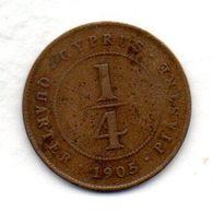 CYPRUS, 1/4 Piastre, Bronze, Year 1905, KM #8 - Chipre
